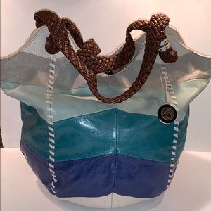 The Sak blue leather bucket tote handbag